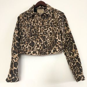 Guess leopard print crop boxy jacket size M